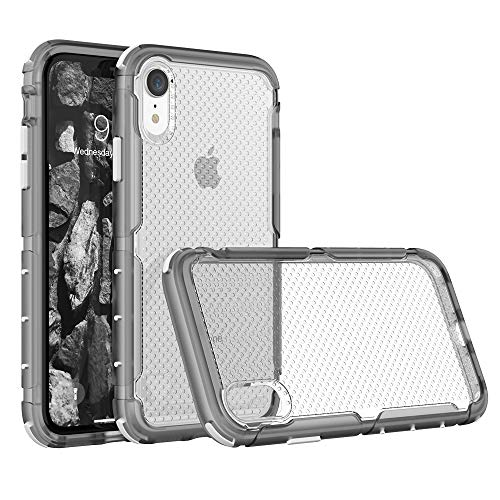 SURPHY Hard Case for iPhone XR, Hybrid Translucent TPU Shock Absorption Phone Case, XR Thick Drop Protection Cover (Round Hole Design) Compatible with iPhone XR 6.1 inch 2018, Clear Gray