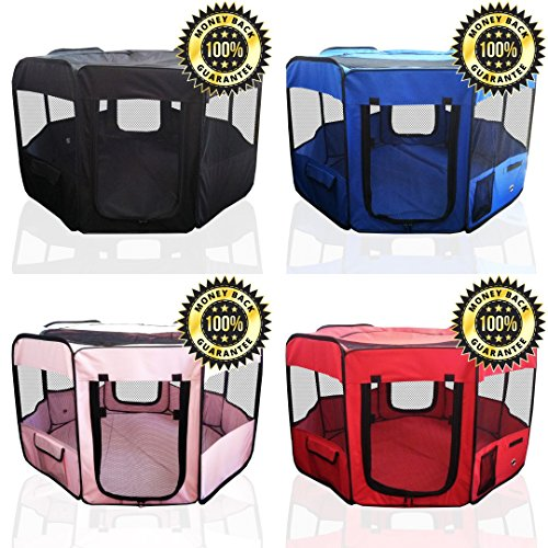 ToysOpoly-Pet-Playpen-45-Exercise-Puppy-Pen-Kennel-Best-for-Dogs-and-Cats-Safe-in-Their-Play-pen-While-Protecting-The-Little-Kids-Folding-Design-Easy-Storage-Pink