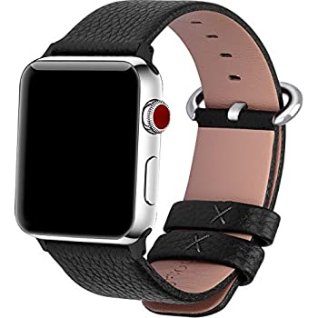 15 Colors for Apple Watch Bands 38mm, Fullmosa Yan Calf Leather Replacement Band/Strap for iWatch Series 0 1 2 3 Sport and Edition Versions 2015 2016 2017, 38mm Black