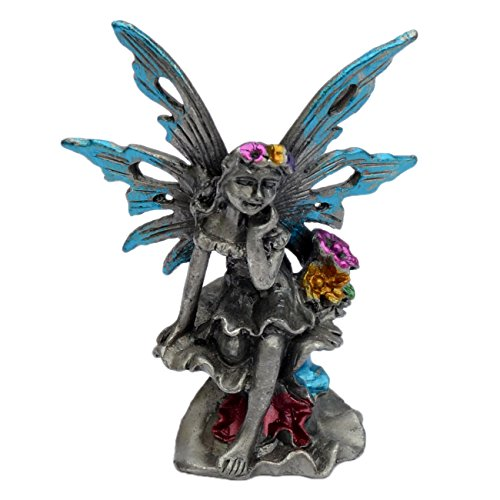 Pewter Fairy Figurine Statue Collectible Fantasy - Flowers Festival Fairies. Two Colors Available (Blue)