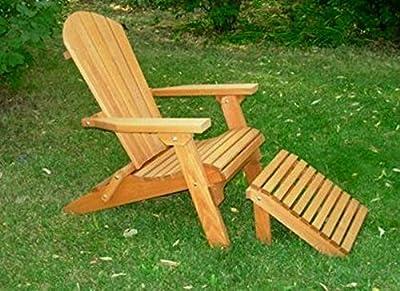 Kilmer Creek Folding Cedar Adirondack Chair W/ottoman Footstool & Stained Finish, Amish Crafted