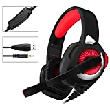 PHOINIKAS Wired Stereo Gaming Headset H9 PS4 Xbox One, Over Ear Headphones with Noise Isolating Mic, LED Light, Volume Control for Laptop, PC, Tablet, iMac, PSP, Mobile Phone,, Over Ear Headphones