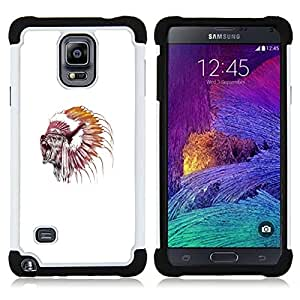 GIFT CHOICE / Defensor Cubierta de protección completa Flexible TPU Silicona + Duro PC Estuche protector Cáscara Funda Caso / Combo Case for Samsung Galaxy Note 4 SM-N910 // Grizzly Bear Native American Chief //