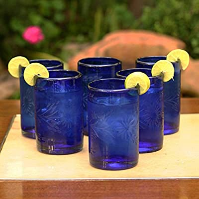 NOVICA 154607 'Blue Blossoms' Cordial-Glasses, 5""