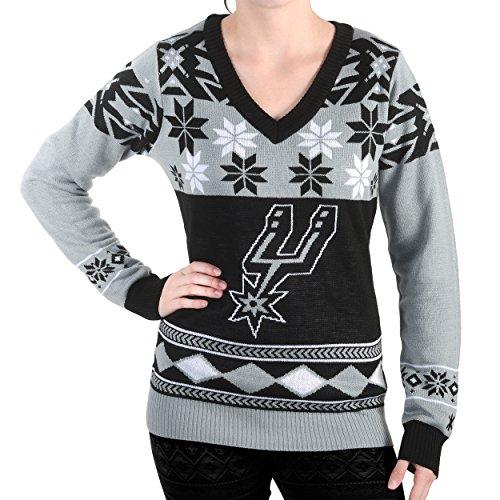 San Antonio Spurs Throw - San Antonio Spurs Womens Big Logo V-Neck Sweater Medium