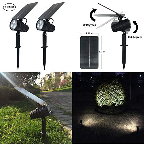 Mii-PWR Solar Spotlight, Mii 2-in-1 Waterproof Solar Outdoor Landscape Light 2 Power Modes Auto ON/OFF Night Lights for Patio Yard Garden Decoration Driveway Pathway Pool (Pack of - Mount Spotlight Wall