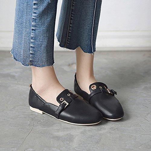 FUFU Chaussures pour Femmes PU Summer Fall Comfort Flats Flat Heel Round Toe pour Casual Office & Career (Couleur : Le Jaune, Taille : EU39/UK6.5/CN40) Noir