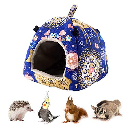 Hamster Tent Bed Winter Warm Hammock Sleeping Bed for Gerbil Rat Sugar Glider Squirrel Hedgehog Small Birds (M, Blue Elk)