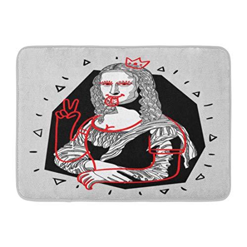 Mona Lisa Sketch - Emvency Bath Mat Italian Tongue Design Bags Leaflets Mona Lisa Gioconda Da Vinci Famous Sketch Bathroom Decor Rug 16