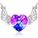 "Special Outlook Angel Wings Heart Shaped Pendant Necklace Love Heart Swarovski Crystal Jewelry Gift for Women and Girls, 17.7"" + 2"" Adjustable"