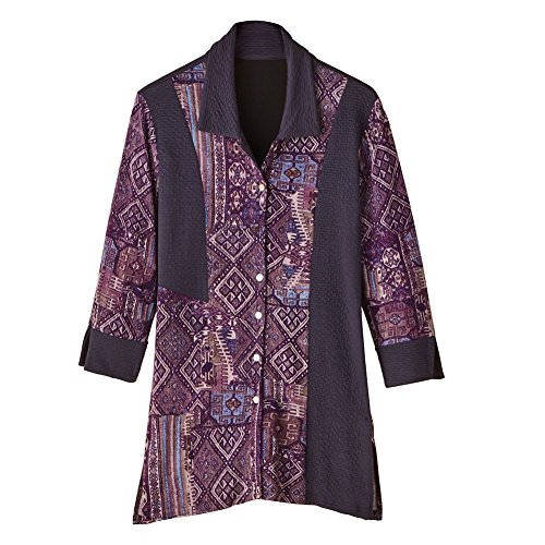 Women's Tunic Top - Plum Pieces Mixed Patterns Button Front Blouse - 3X