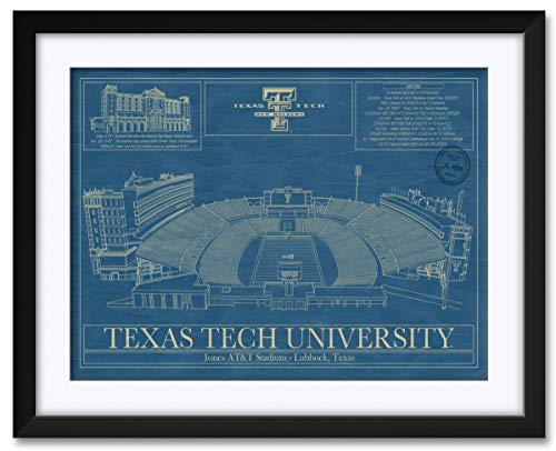 Northwest Art Mall Jones AT&T Football Stadium Texas Tech University Framed & Matted Hand-Drawn Football Stadium by Robert Redding. Print Size: 17