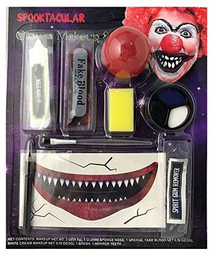 MA ONLINE Unisex Evil Clown Makeup Set Adults Halloween Horror Party Face Paint Accessory -