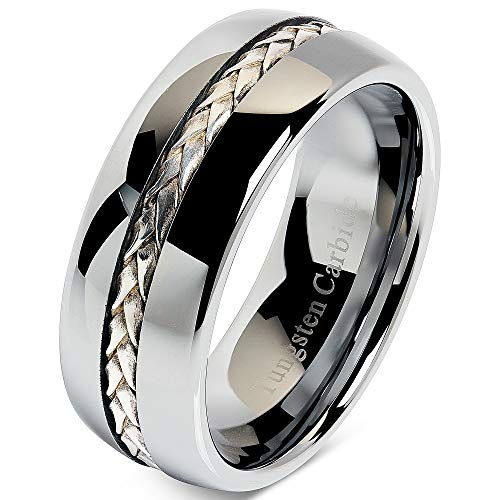 (100S JEWELRY 8mm Men's Tungsten Carbide Ring Silver Rope Inlay Wedding Band Size 8-12 Comfort Fit (8))