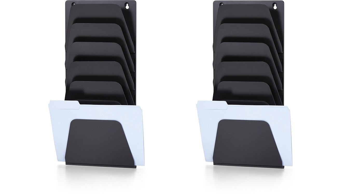 Officemate Wall File Holder, Letter/Legal, 7 Pockets, Black (21505) (Pack of 2)