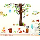 Nursery Animal Decal, Wall Tree, Fox, Bear, Deer, Owl Wall Decal, Animal Wall Stickers, Animal Wall Decal, Tree Wall Decal