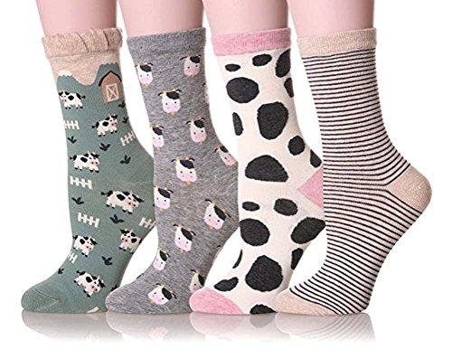 Searchself Women Funny Cute Animal Design Cotton Crew Socks 4 Pairs (C)