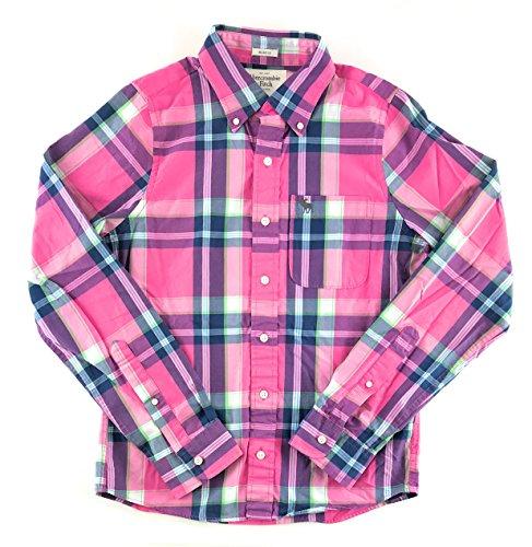 (Abercrombie & Fitch Mens Long Sleeve Plaid Shirt Medium Pink Navy White Green 0899)