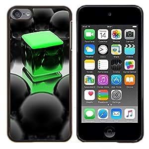 For Apple iPod Touch 6 6th Touch6 Case , Abstract Green Cube- Diseño Patrón Teléfono Caso Cubierta Case Bumper Duro Protección Case Cover Funda