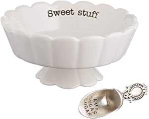 "Mud Pie 4881012S Candy Dish""Sweet Stuff"" with Scoop, White"