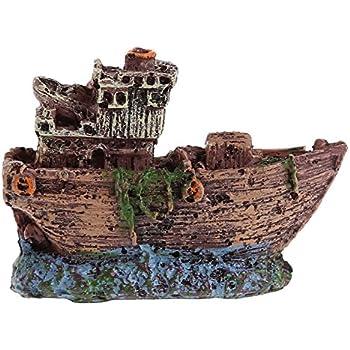 Aquarium Ornament Sunk Ship Wreck Boat Fish Tank Cave Décor