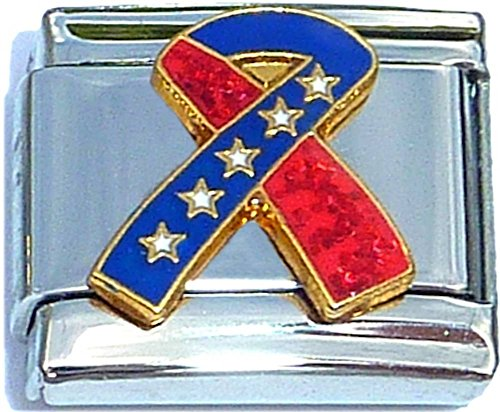 Red And Blue Ribbon Sparkly Italian Charm