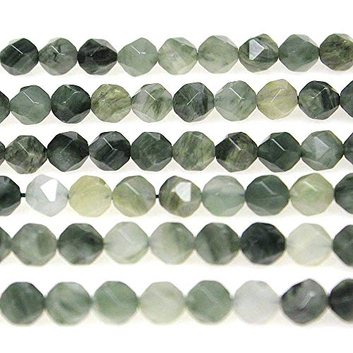 MJDCB Best Sellers Natural Stone Beads Faceted Polygon Grass Green Jade Crystal Energy Stone Healing Power for Jewelry Making(8mm)