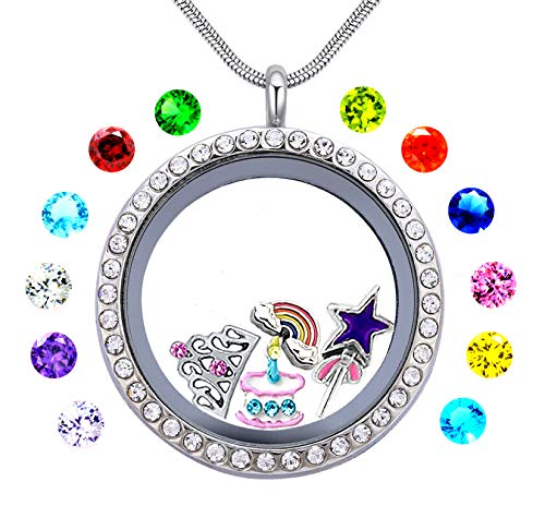 (beffy Girl's Happy Birthday Gift & Teen Girl Gift, 30mm Round Floating Living Memory Charm Lockets Necklace)