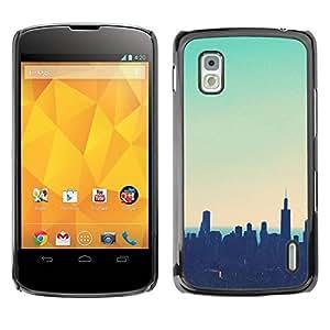 rígido protector delgado Shell Prima Delgada Casa Carcasa Funda Case Bandera Cover Armor para LG Google Nexus 4 E960 /Nyc New York Teal Sunset/ STRONG
