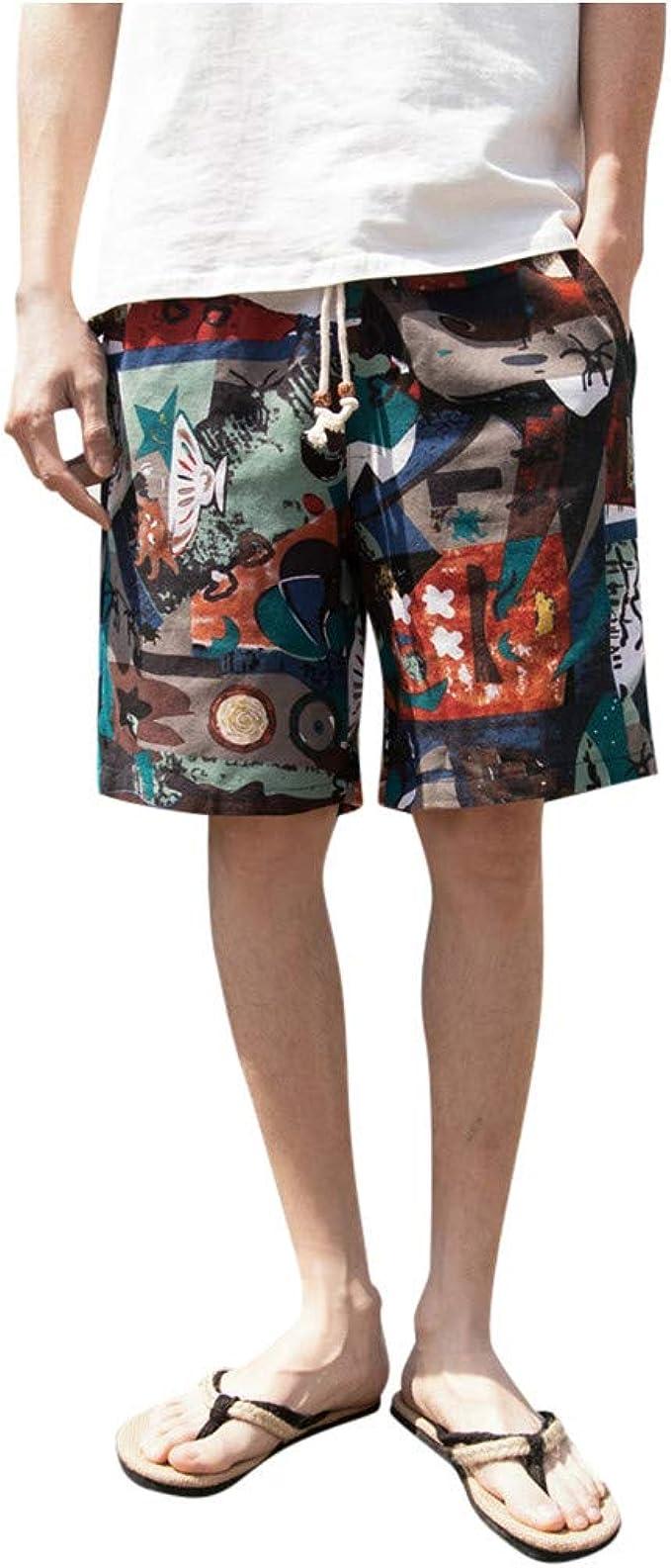 Pantalones Cortos Hombre Pantalones Cortos Holgados De Pijama De Pierna Ancha De AlgodóN De Lino De AlgodóN De HaréN De Hombres: Amazon.es: Ropa y accesorios