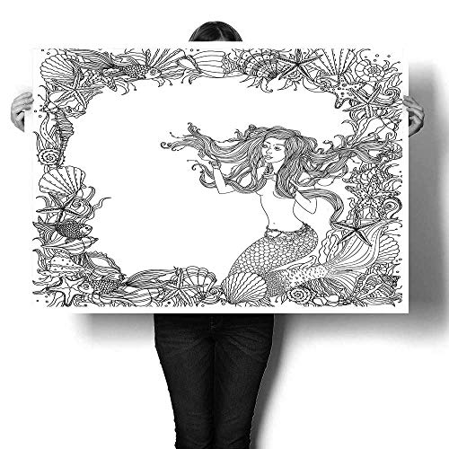 Black and White Frame as Ornament of Seashells Starfish Seaweed and Woman with Abstract Hair in The Image of a Mermaid Could be use for colopainting Drop clothpainting canvas32