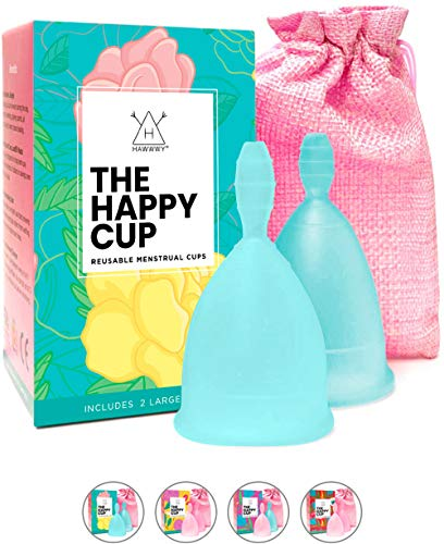 Happy Cup Menstrual Cups Hawwwy Tampon & Pad Alternative Large Heavy Flow Good-Grip Pull Design Eco Friendly Reusable FBA Registered Comfortable FemininePeriod Cup Beginner or Experienced (2-Pack)