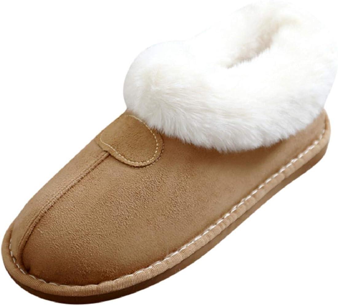 Goldweather Womens Cozy Memory Foam Slippers Winter Warm Fur Lined Anti-Skid House Slippers
