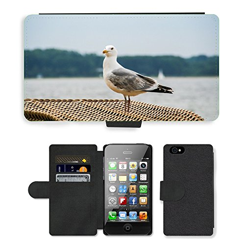 Just Phone Cases PU Leather Flip Custodia Protettiva Case Cover per // M00127867 Mouette Mouette rieuse Oiseau projet de // Apple iPhone 4 4S 4G