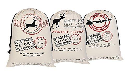 (KEFAN 3 Pack Christmas Bag Santa Sack Canvas Bag for Gifts Santa Sack with Drawstrings Extra Large Size 27.5