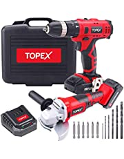 "TOPEX 20V Max Lithium Cordless Hammer Drill & 5"" Angle Grinder Combo Kit"