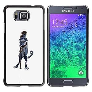Héroe de la Espada Mujer Carácter Gato Gris- Metal de aluminio y de plástico duro Caja del teléfono - Negro - Samsung ALPHA G850