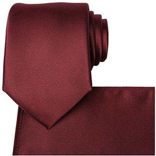 Tie Squares (KissTies Burgundy Satin Tie Wedding Ties Mens Necktie + Pocket Square)