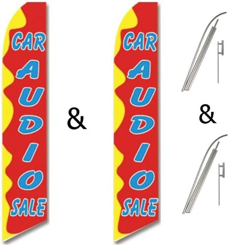 Twin Pack Swooper Flags /& Pole Kits Red Yellow Light Blue CAR AUDIO SALE