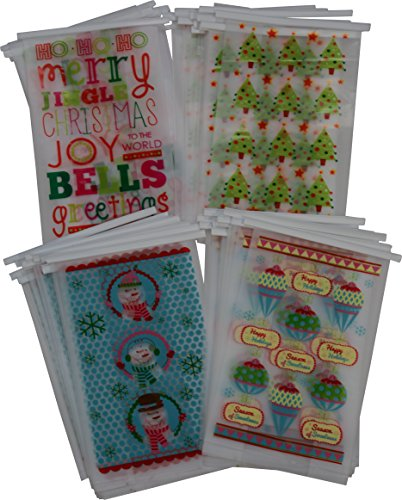 48 Christmas cookie bakery bags for small, Pastries or Candy; translucent plastic with Resealable tie tab; 8.5