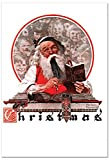 12 'Rockwell Holidays Book' Boxed Christmas Cards with Envelopes 4.63 x 6.75 inch, Vintage Santa Christmas Notes, Classic Norman Rockwell Holiday Cards, American Art Christmas Stationery B6036AXSG