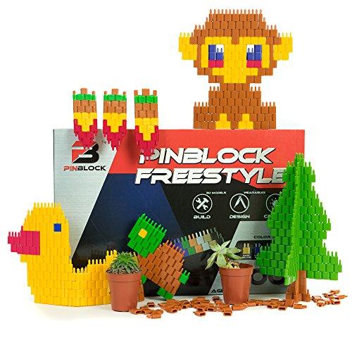 Pinblock Freestyle ''Nature'' - Creative Smart Building Set for Boys and Girls with 1000 Interlocking and Rotating Blocks(200pcs each - Blue, Brown, Dark Red, Dark Yellow, Dark Green)