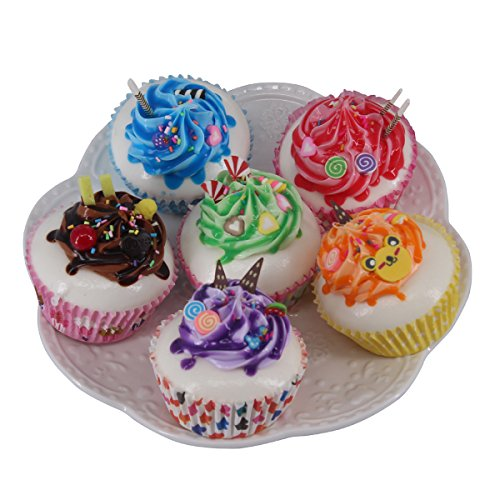 Greatflower Pack of 6 Artificial Cupcake Model Fake Cake ,Mixed Colors (Fake Birthday Cakes For Display)