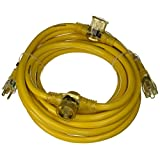 Yellow Jacket 2830 12/3 Heavy-Duty 15-Amp SJTW Contractor Extension Cord with Lighted Power Block, 25-Feet