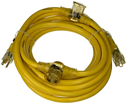 Yellow Jacket 2830 Woods STW Adapter Cord with 3-Outlet Lighted Power Block, 3 12 Awg Bare Conductor, 25 Ft L, Foot, - Stw Cord