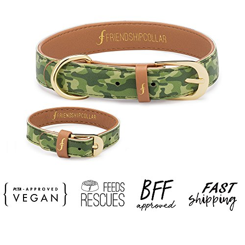 FriendshipCollar Dog Collar and Matching Bracelet Set - Sgt Pup - Vegan Leather - 8 Sizes Available - Every Purchase Helps Feed Hungry Shelter Pups by FriendshipCollar (Image #1)