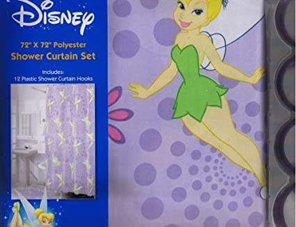 Disney Tinker Bell Fabric Shower Curtain 12 Hooks