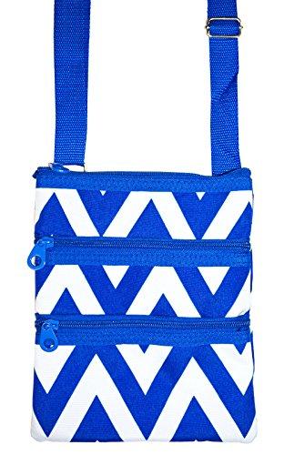 Ever Moda Royal Blue Zig Zag Chevron Print Small Hipster Cross Body Bag