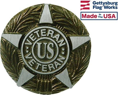 Gettysburg Flag Works Aluminum Grave Marker Universal Service, US Veteran Plaque, Cemetery Memorial Flag Holder, Made In USA