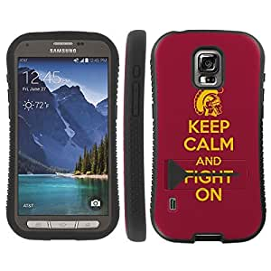 Mobiflare Samsung Galaxy S5 Active Keep Calm and Fight On KickFlip Grip Shock Proof Armor Artistry Design Phone Case